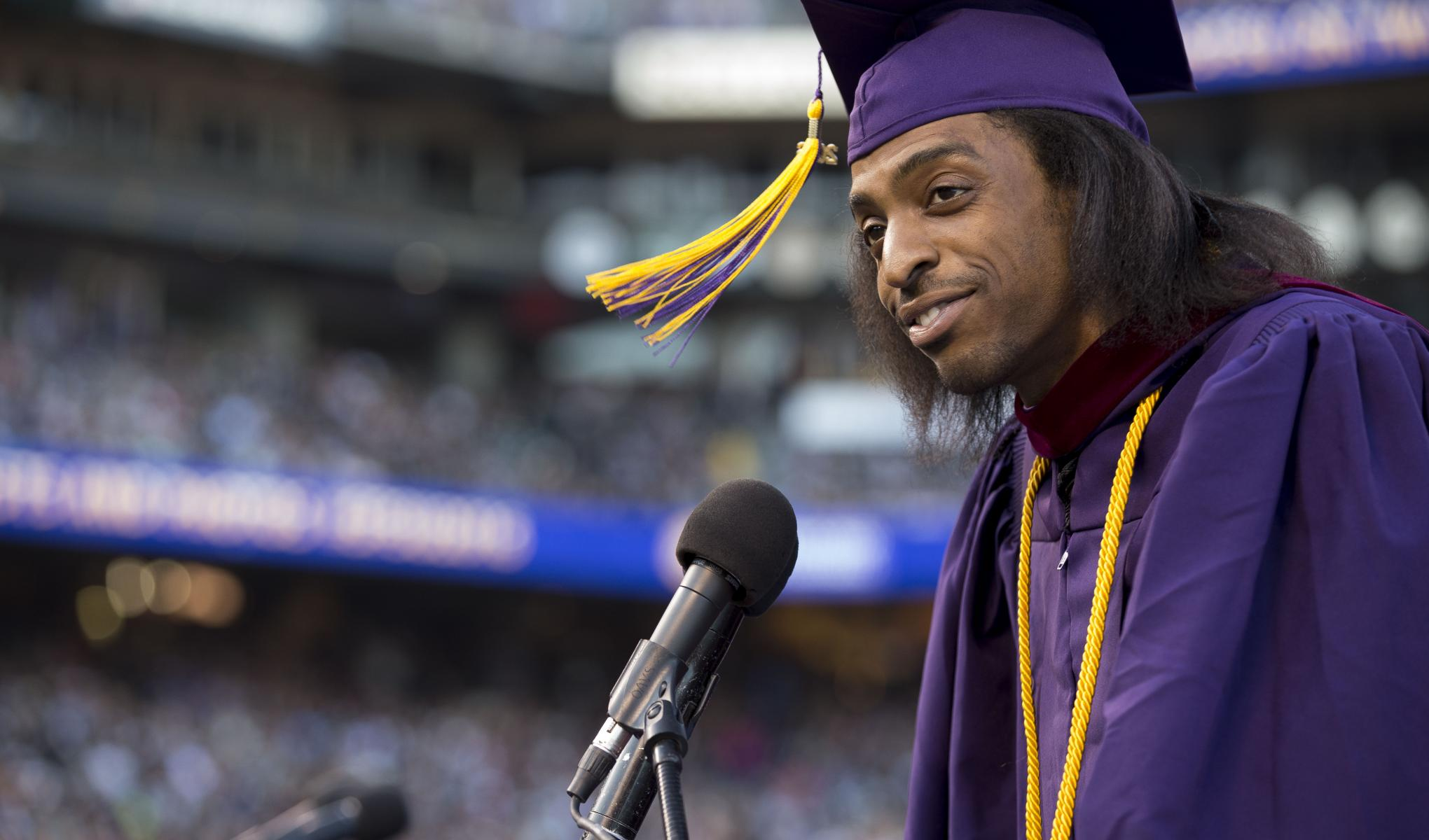 SF State graduate Richard Polote speaking at Commencement